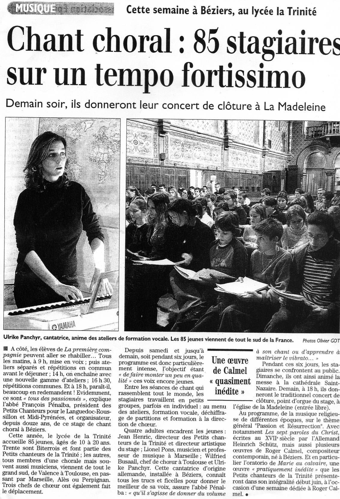 Juin 2005 Stage de Chant à Béziers