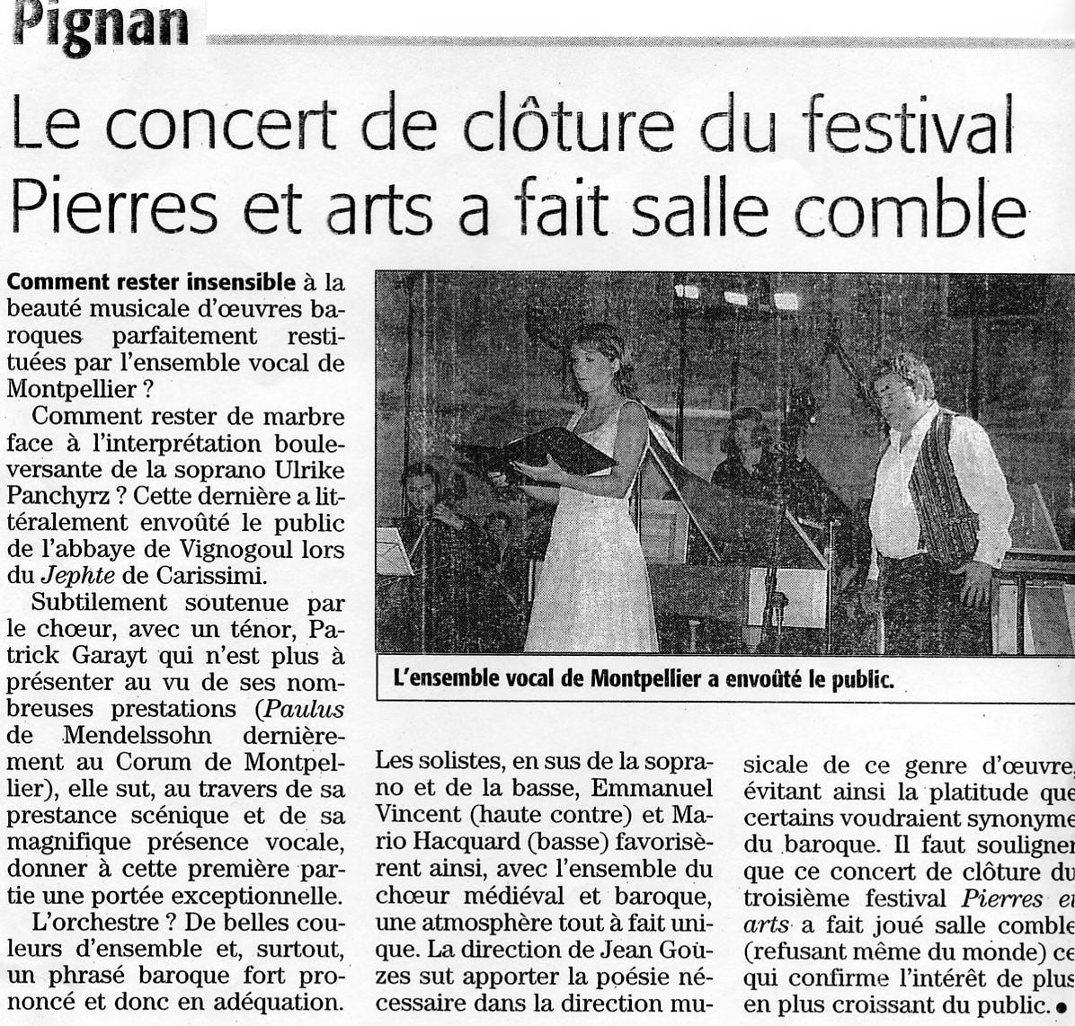 Juin 2005 Concert à l'Abbaye de Vignogoul