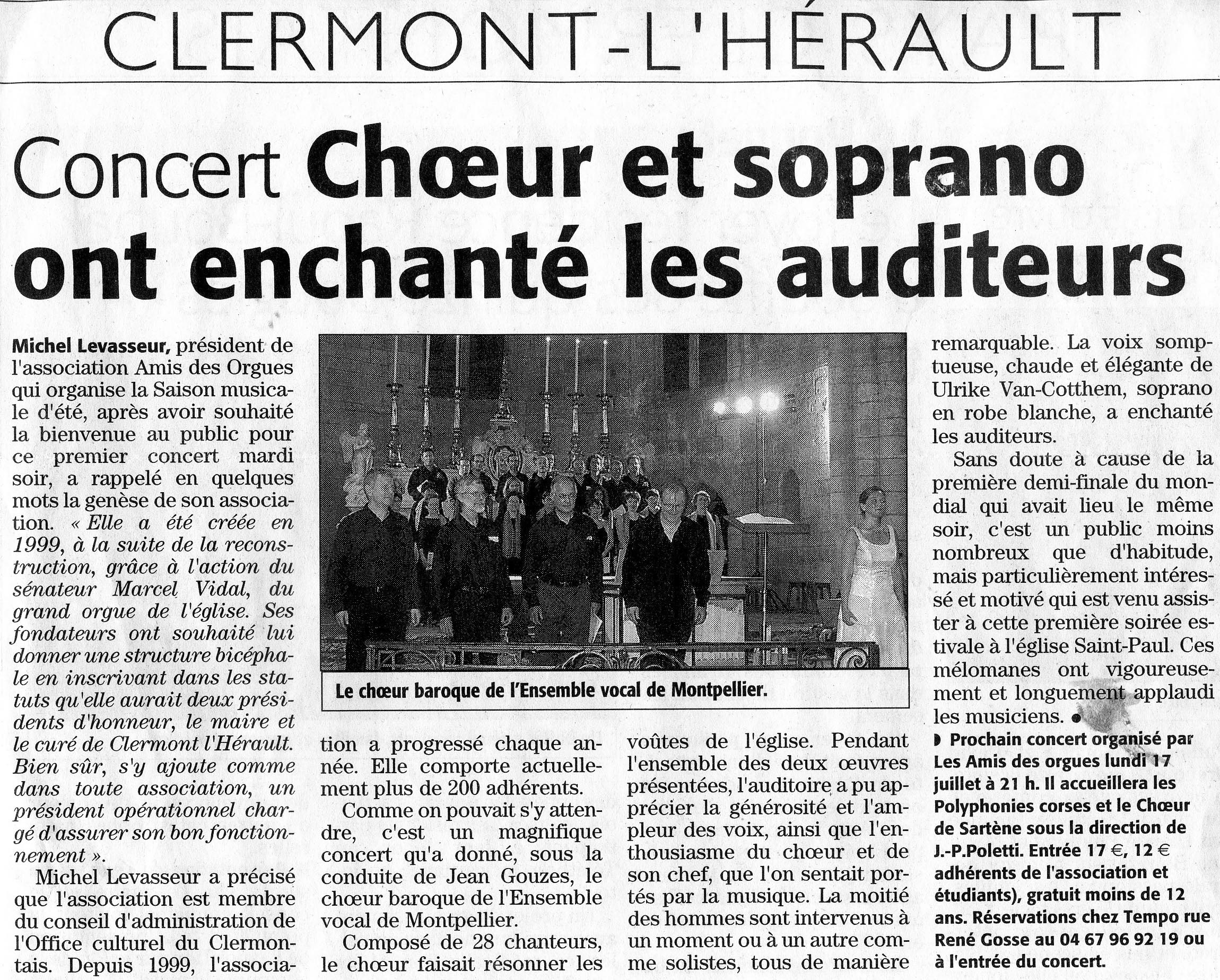 Juillet 2006 Concert à Clermont-l'Hérault