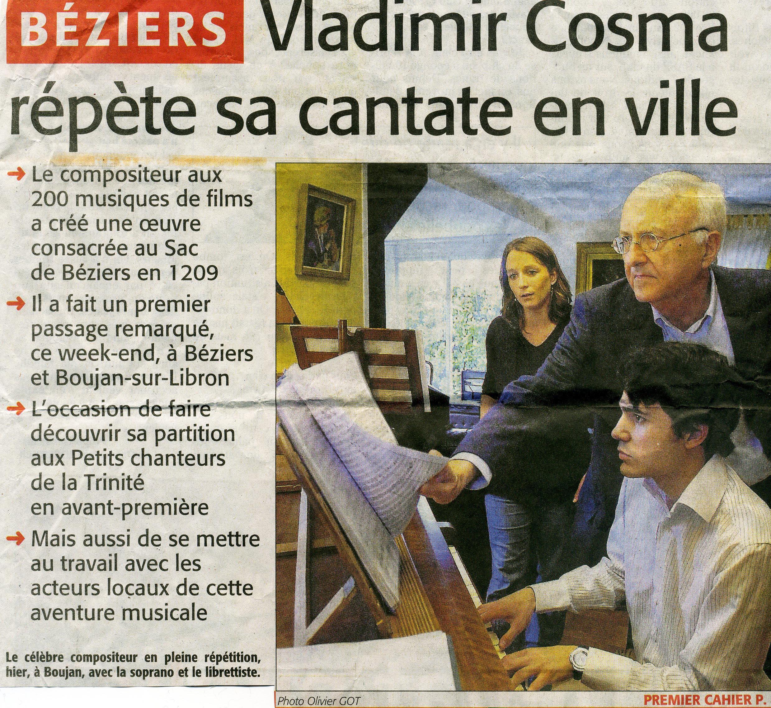 29 mars 2009 article sur la Création Mondiale de Vladimir Cosma