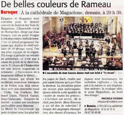 6 octobre 2012 Concert Rameau et Charpentier à la Cathédrale de Villeneuve-lès-Maguelone