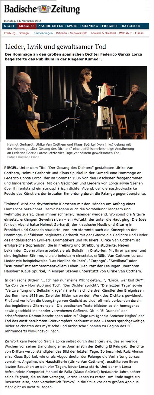 """23 octobre 2014 """"Der Gesang des Dichters"""" à Riegel/Allemagne"""