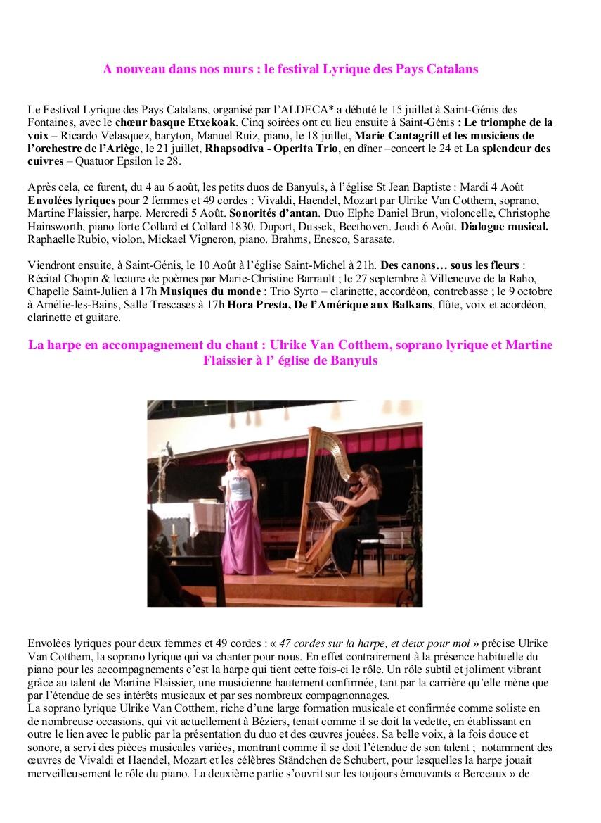 4 août 2015 Eglise de Banuyls sur Mer Duo harpe et soprano partie 1